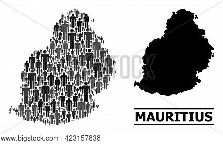 Map Of Mauritius Island For Social Projects. Vector Population Abstraction. Concept Map Of Mauritius