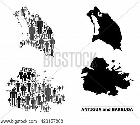 Map Of Antigua And Barbuda For Social Posters. Vector Population Abstraction. Concept Map Of Antigua