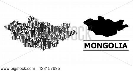 Map Of Mongolia For Social Agitprop. Vector Population Mosaic. Pattern Map Of Mongolia Made Of Popul