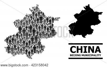Map Of Beijing Municipality For Demographics Agitprop. Vector Demographics Collage. Collage Map Of B