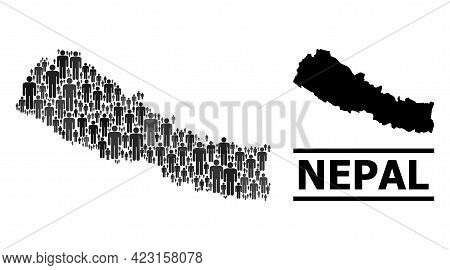 Map Of Nepal For National Agitation. Vector Population Abstraction. Concept Map Of Nepal Combined Of