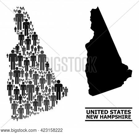 Map Of New Hampshire State For Demographics Applications. Vector Demographics Mosaic. Collage Map Of