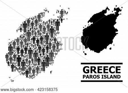 Map Of Paros Island For Political Applications. Vector Population Abstraction. Abstraction Map Of Pa