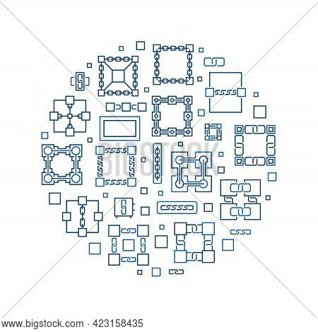 Block Chain Or Blockchain Vector Circular Illustration