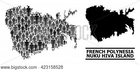 Map Of Nuku Hiva Island For Political Purposes. Vector Population Mosaic. Mosaic Map Of Nuku Hiva Is