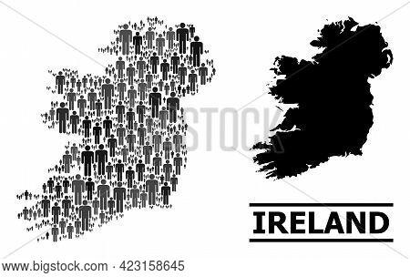 Map Of Ireland Island For Demographics Agitation. Vector Population Mosaic. Mosaic Map Of Ireland Is