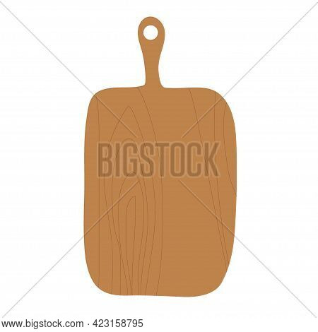 Cutting Board With Wooden Texture Isolated On White Background. Kitchen Utensils. For Butchery, Rest