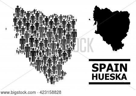 Map Of Hueska Province For Demographics Purposes. Vector Demographics Mosaic. Concept Map Of Hueska