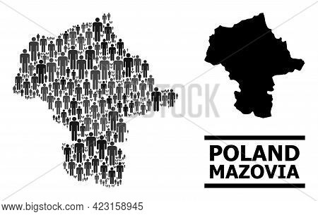 Map Of Mazovia Province For Political Proclamations. Vector Population Collage. Collage Map Of Mazov