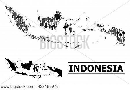 Map Of Indonesia For Political Propaganda. Vector Demographics Mosaic. Mosaic Map Of Indonesia Creat