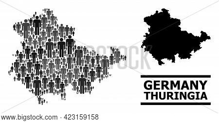 Map Of Thuringia State For Political Propaganda. Vector Population Abstraction. Concept Map Of Thuri