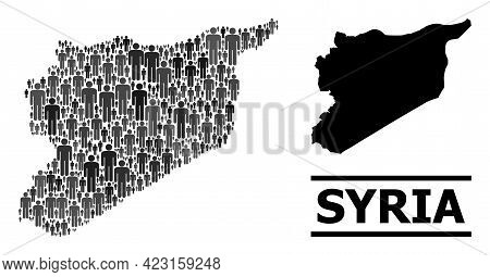 Map Of Syria For Social Applications. Vector Demographics Abstraction. Abstraction Map Of Syria Desi