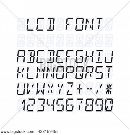 Lcd Font Template For Fourteen Segment Display. Vector Illustration Isolated On White Background