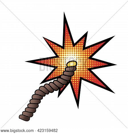 Burning Explosive Fuse In Comic Cartoon Style With Halftones Isolated On White Background. Design El