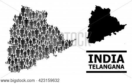Map Of Telangana State For Political Projects. Vector Demographics Mosaic. Mosaic Map Of Telangana S