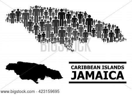 Map Of Jamaica For Demographics Agitation. Vector Demographics Abstraction. Pattern Map Of Jamaica C