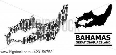 Map Of Great Inagua Island For National Posters. Vector Population Mosaic. Mosaic Map Of Great Inagu