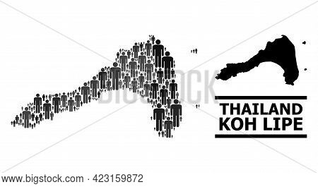 Map Of Koh Lipe For National Proclamations. Vector Nation Collage. Collage Map Of Koh Lipe Designed