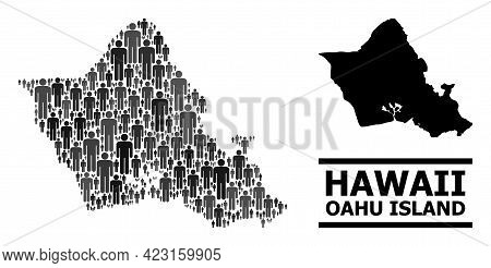 Map Of Oahu Island For Politics Promotion. Vector Population Mosaic. Pattern Map Of Oahu Island Crea