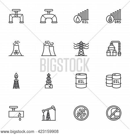 Oil And Gas Industry Line Icons Set, Outline Vector Symbol Collection, Linear Style Pictogram Pack.