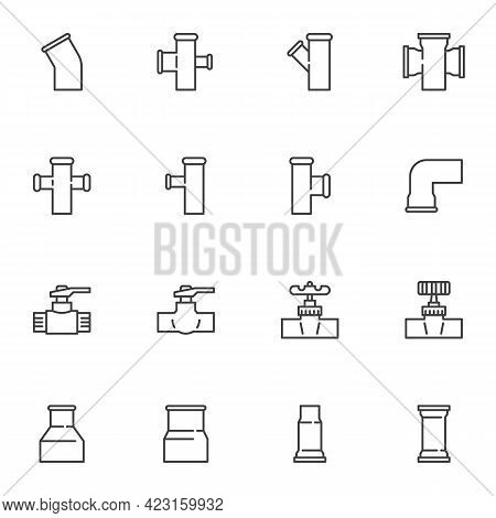 Plumbing Related Line Icons Set, Outline Vector Symbol Collection, Linear Style Pictogram Pack. Sign
