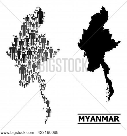 Map Of Myanmar For Demographics Promotion. Vector Population Collage. Collage Map Of Myanmar Compose