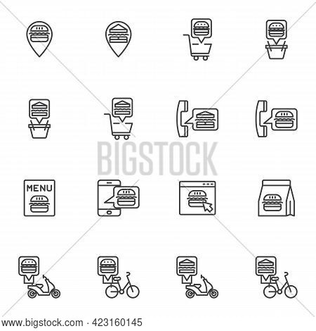 Fast Food Ordering Line Icons Set, Outline Vector Symbol Collection, Linear Style Pictogram Pack. Si