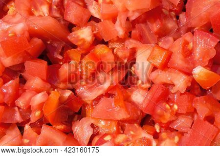 Tomato Salad Background. Red Pepper Salad Texture. Healthy Red Salad Background. Fit Dinner Texture.