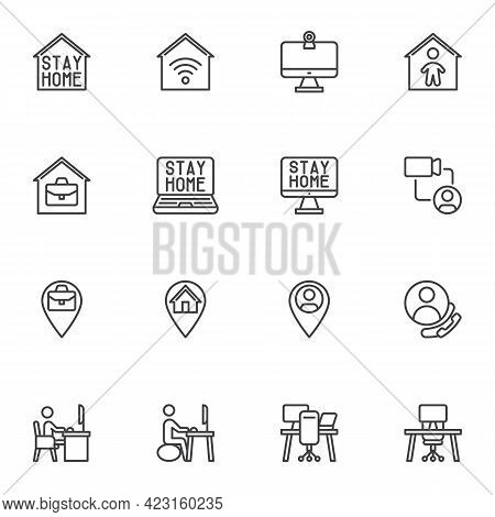 Stay Home Line Icons Set, Work From Home Outline Vector Symbol Collection, Freelance Linear Style Pi