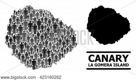 Map Of La Gomera Island For Politics Proclamations. Vector Population Collage. Composition Map Of La