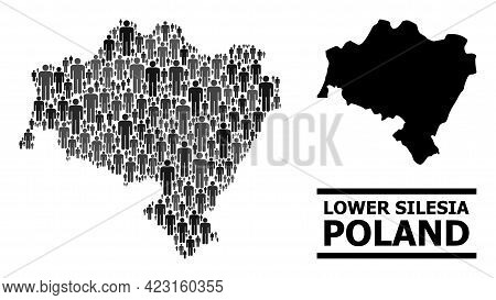 Map Of Lower Silesia Province For National Agitation. Vector Demographics Mosaic. Mosaic Map Of Lowe