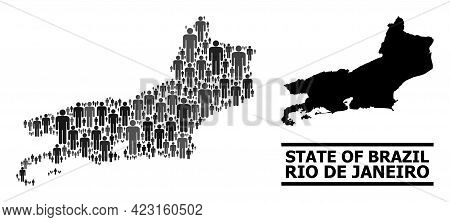 Map Of Rio De Janeiro State For Political Agitprop. Vector Population Abstraction. Abstraction Map O