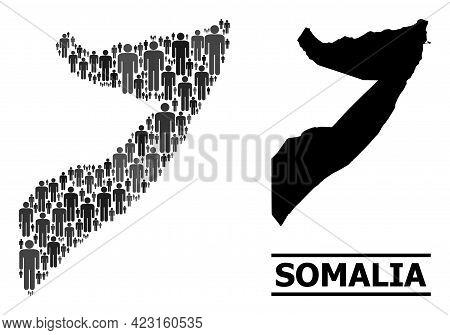 Map Of Somalia For National Propaganda. Vector Population Abstraction. Concept Map Of Somalia Design