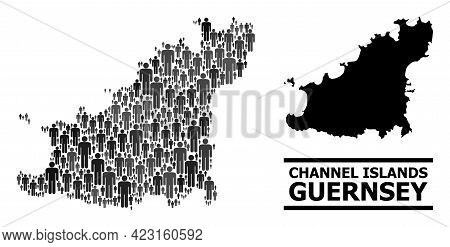 Map Of Guernsey Island For Demographics Agitation. Vector Nation Abstraction. Abstraction Map Of Gue