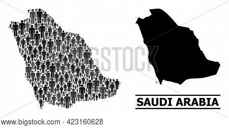 Map Of Saudi Arabia For Political Applications. Vector Population Mosaic. Concept Map Of Saudi Arabi