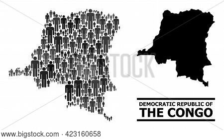 Map Of Democratic Republic Of The Congo For Politics Doctrines. Vector Nation Abstraction. Abstracti