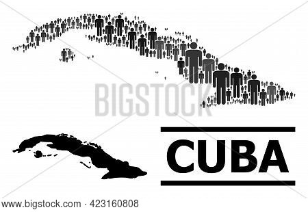 Map Of Cuba For Demographics Projects. Vector Demographics Mosaic. Abstraction Map Of Cuba Done Of P