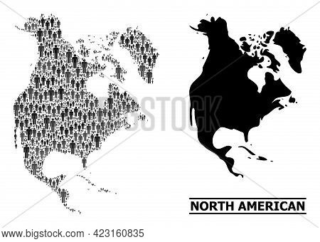Map Of North America For Social Proclamations. Vector Nation Abstraction. Abstraction Map Of North A
