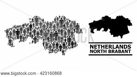 Map Of North Brabant Province For Politics Projects. Vector Population Collage. Composition Map Of N