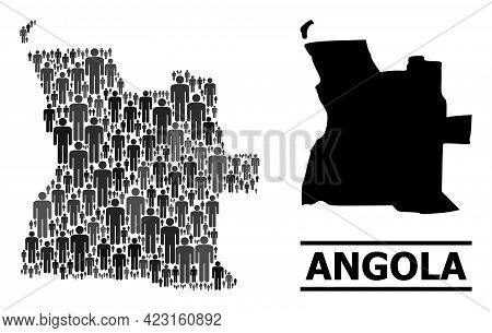 Map Of Angola For Demographics Proclamations. Vector Demographics Abstraction. Mosaic Map Of Angola