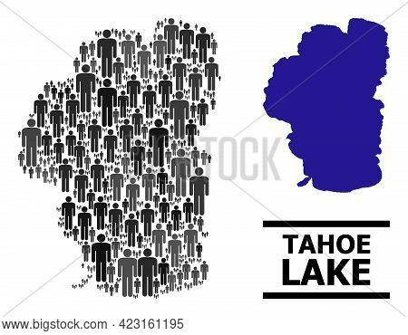 Map Of Tahoe Lake For Politics Proclamations. Vector Nation Abstraction. Abstraction Map Of Tahoe La