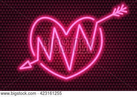 An Arrow Pierces The Heart. Neon Glow. Colored Vector Illustration. Isolated Background Of Pink Tria