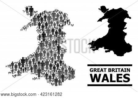 Map Of Wales For Political Posters. Vector Population Mosaic. Concept Map Of Wales Created Of People