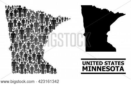 Map Of Minnesota State For Demographics Purposes. Vector Population Collage. Concept Map Of Minnesot