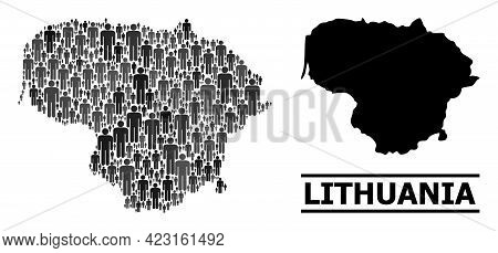 Map Of Lithuania For Demographics Doctrines. Vector Demographics Abstraction. Collage Map Of Lithuan