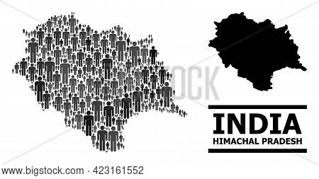Map Of Himachal Pradesh State For Social Projects. Vector Demographics Abstraction. Abstraction Map