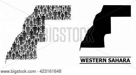 Map Of Western Sahara For Demographics Applications. Vector Population Abstraction. Concept Map Of W