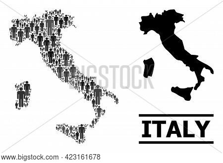 Map Of Italy For Demographics Proclamations. Vector Demographics Mosaic. Concept Map Of Italy Design
