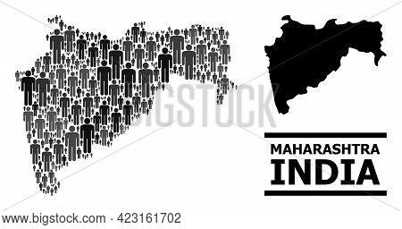 Map Of Maharashtra State For Politics Agitprop. Vector Demographics Mosaic. Concept Map Of Maharasht