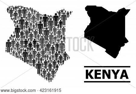 Map Of Kenya For Demographics Proclamations. Vector Demographics Abstraction. Concept Map Of Kenya D